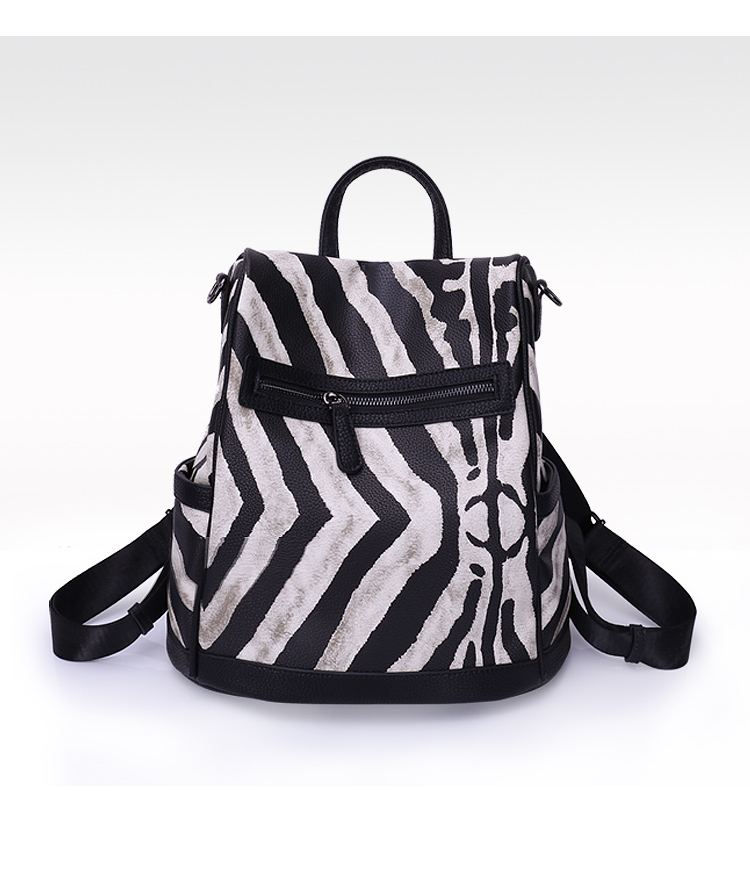 UN18170 BLACK - Printed style PU leather open on back very safe mutli-used 3 in 1 backpack