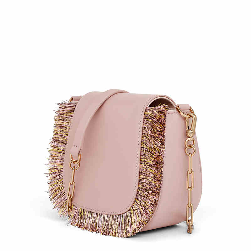 UN18176 - Guangzhou factory supplier human leather girls tassels crossbody bag with metal strap