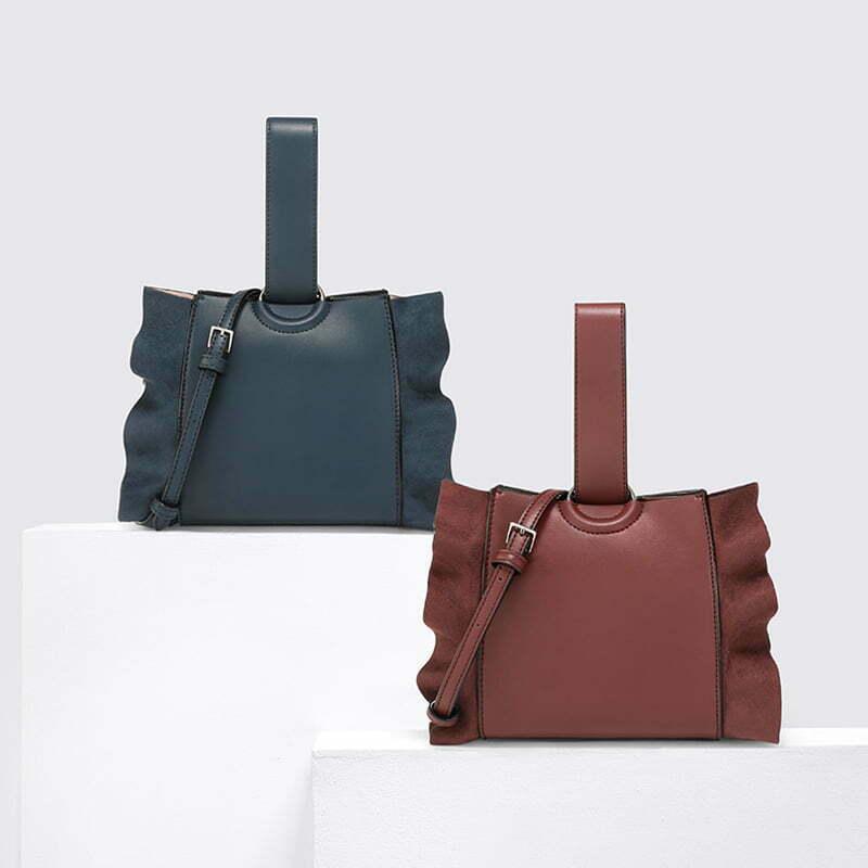 Popular design double sides material woman single handle handbag