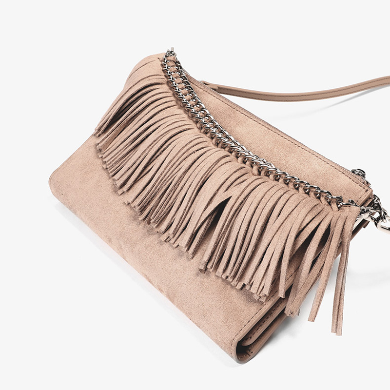 UN18182 NUDE - Double used nice design tassel girls crossbody bag with card slots