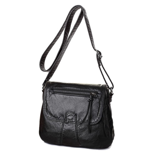UN18002 500x500 - Simple design high quality black PU washed leather girls shoulder bag