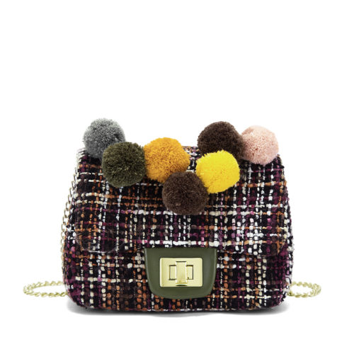 Guangzhou factory designer colorful fabric girls crossbody bags with pompoms
