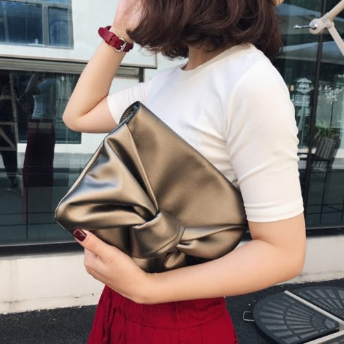 New design soft golden PU leather office lady clutch bag
