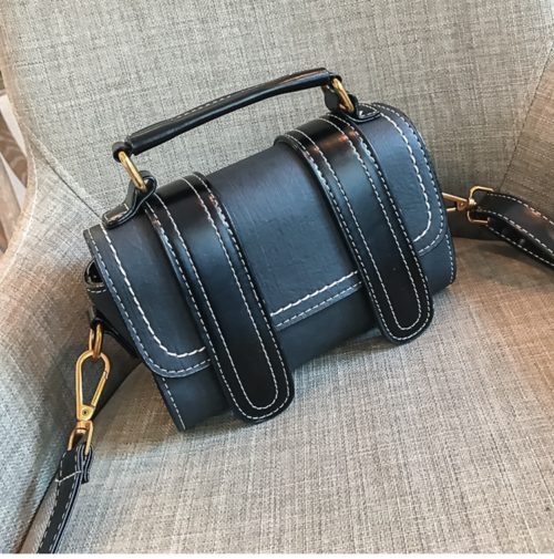 European designer contrast color PU leather women satchel bag