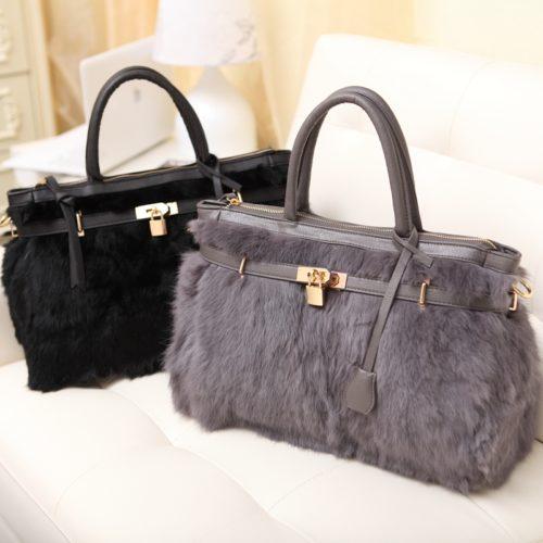 Copy big brand design real fur winter collection ladies hermes handbags