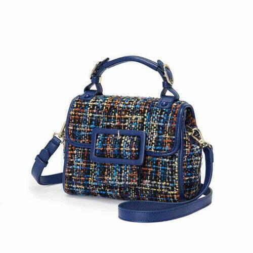 Wholesale price blue PU leather nice fabric ladies evening bags