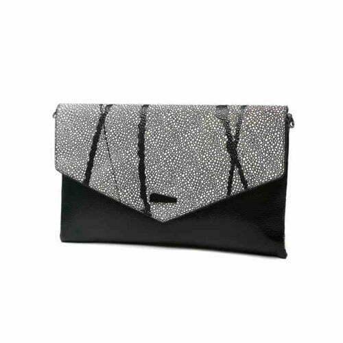 European design black PU leather contrast color ladies clutch bag