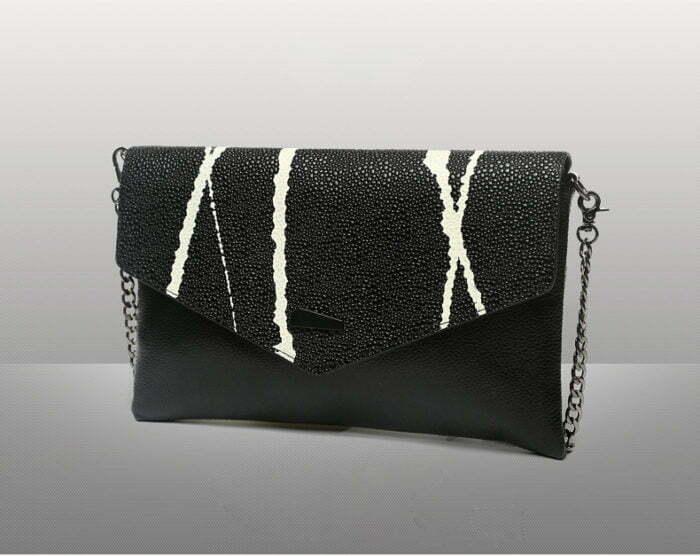 UN18011 BLACK 700x556 - European design black PU leather contrast color ladies clutch bag
