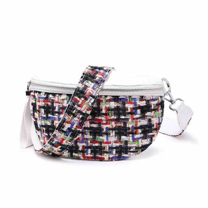 UN18012 700x700 - Wholesale price two belt strap fabric leather women waist bag