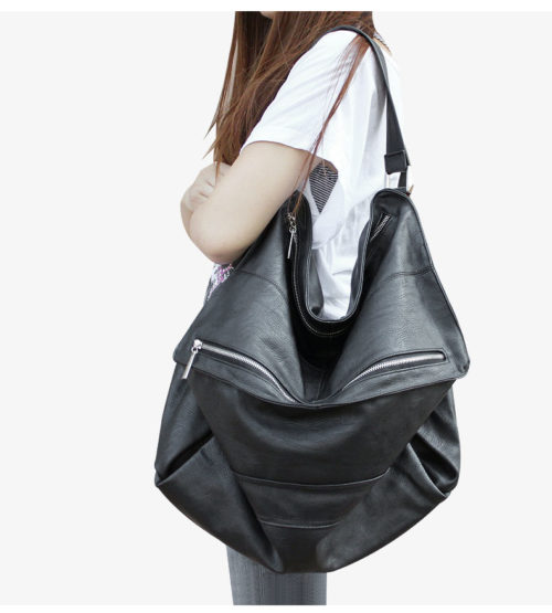 UN18013 500x555 - High quality soft black PU leather big capacity ladies handbags