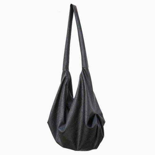 European designer soft black PU leather ladies large hobo bag
