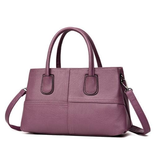 Guangzhou factory designer purple PU leather women tote handbags