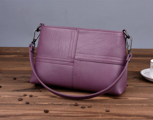 UN18017 purple 500x393 - Simple design artificial leather two straps shoulder bags for women
