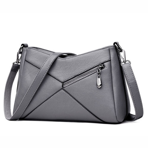 UN18018 500x500 - Korean style patches grey human leather ladies shoulder purses