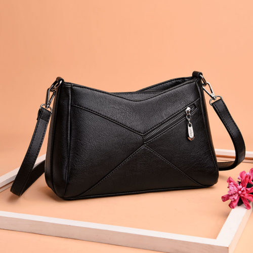 UN18018 black 500x500 - Korean style patches grey human leather ladies shoulder purses