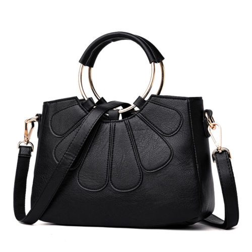 Popular style flower shape big metal ring black leather hand bag