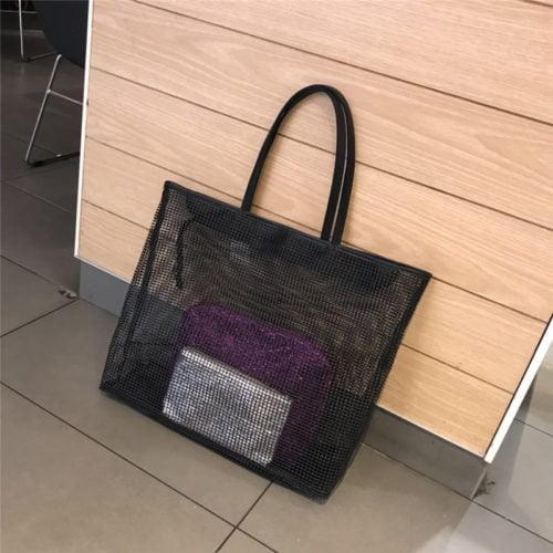 Useful design 3 in 1 summer style net material ladies bag in bag tote bag