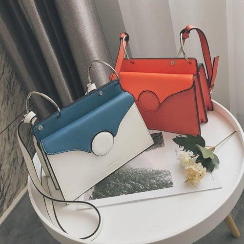 Hot selling on ebay big metal rings eco PU leather ladies sling bags