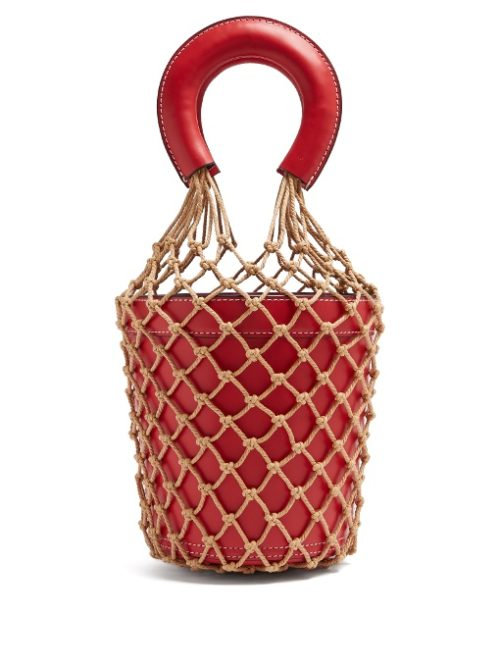 Trendy spring design red artificial leather with net girls purses