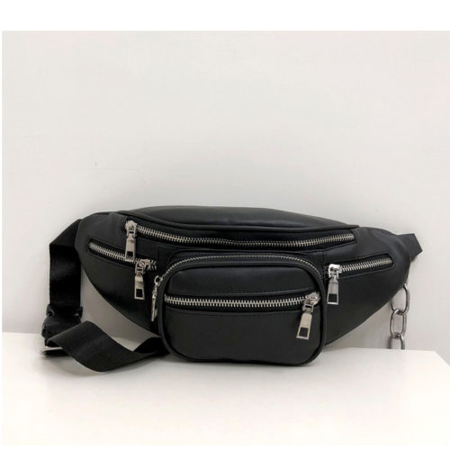 UN18028 500x500 - Popular design black PU leather sport girls waist belt bag