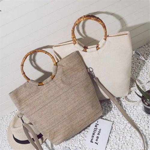 2019 new design summer season linen handbags and totes bags with bamboo handle