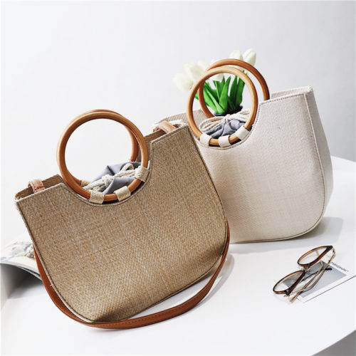 Eco linen material fashion women summer tote bags with wood handle