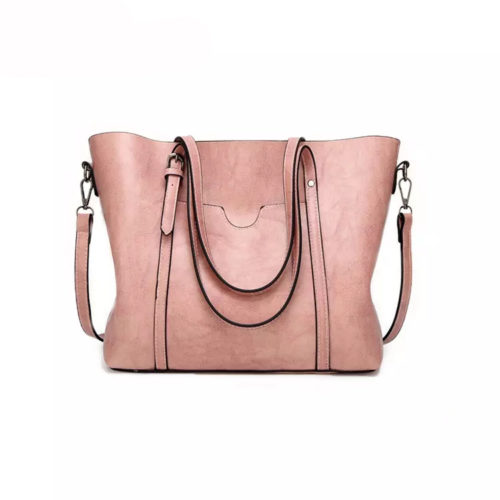 Guangzhou factory OEM PU leather fast delivery ladies pink handbags