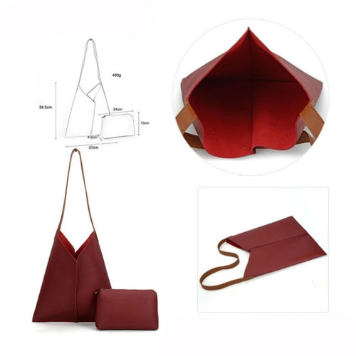 UN19006 1 500x500 - Popular design red PVC leather bag in bag ladies bag