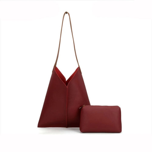 Popular design red PVC leather bag in bag ladies bag