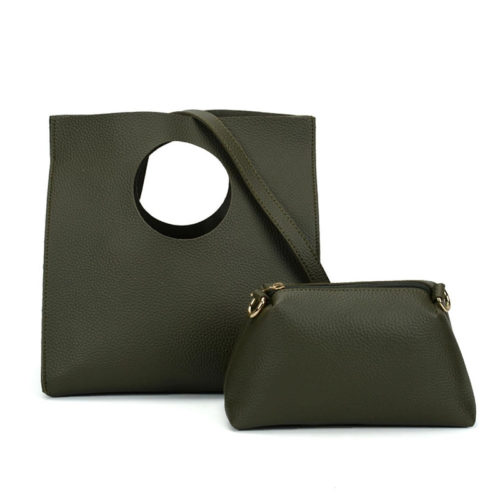 Small MOQ colors PVC green leather best cheap tote bags