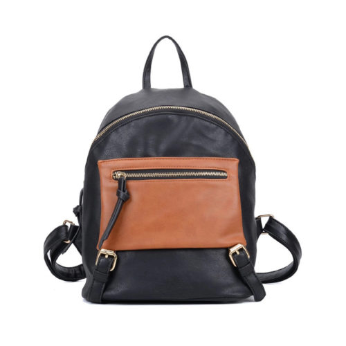 Fashion design colorful school girls black and brown backpack