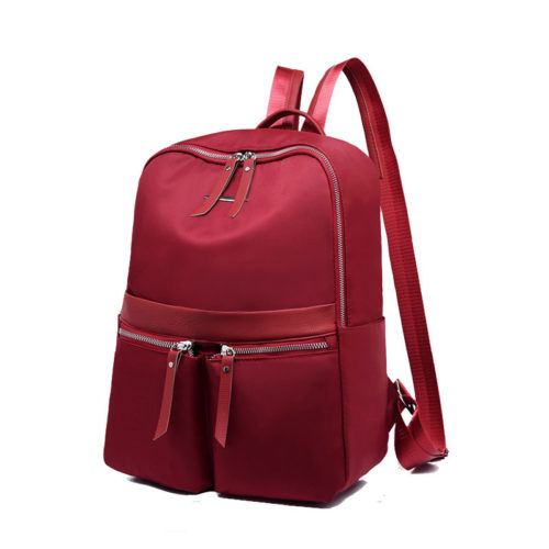 Anti theft design big capacity light weight nylon red backpack