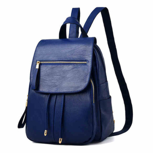 Factory supply blue PU leather drawstring backpack