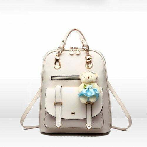 Mutil used short handle PU leather purple backpack