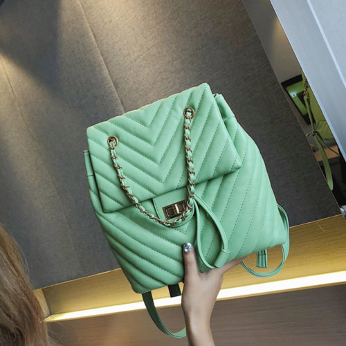 Summer design embroidery PU leather green backpacks for school