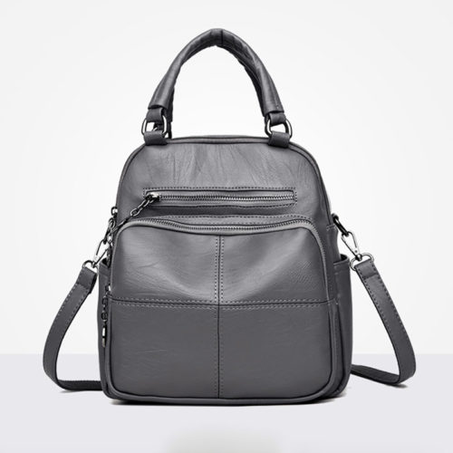 Guangzhou manufacturer grey PU leather book bag backpack