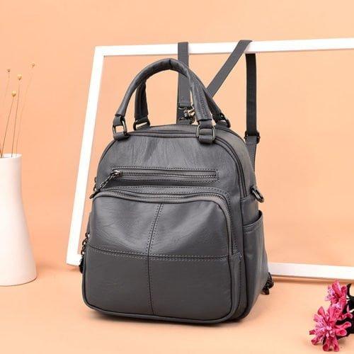 UN19043 grey 500x500 - Guangzhou manufacturer grey PU leather book bag backpack