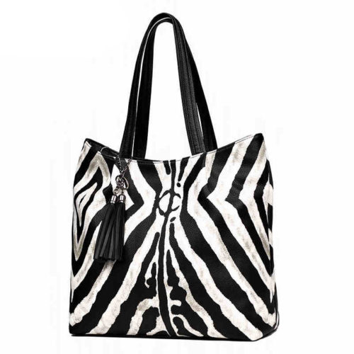 2019 hot selling zebra pattern womens big tote bags