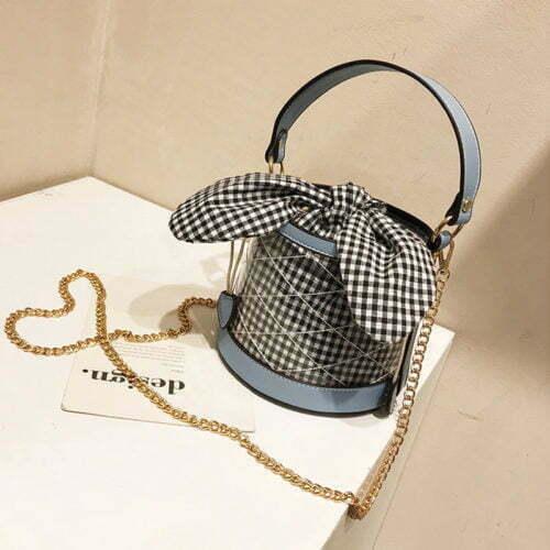 Copy Zara design clear PVC nice bow bucket bag