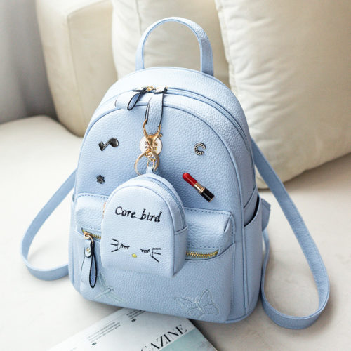 UN19057 500x500 - Hot selling blue PU leather girls backpack purse