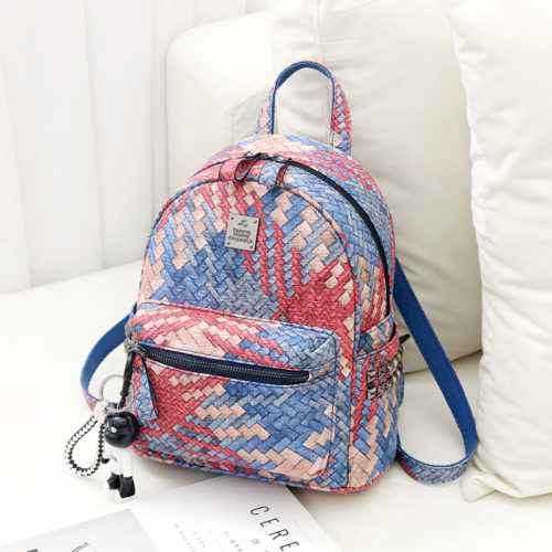 UN19058 500x500 - Newest design woven PU colorful ladies backpack sale