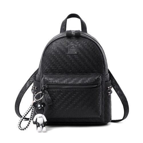 UN19058 black 500x500 - Newest design woven PU colorful ladies backpack sale