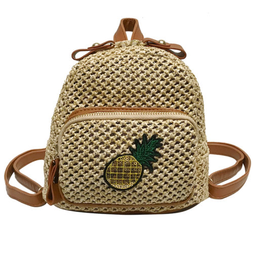 Summer stylish PP straw ladies backpacks with pineapple