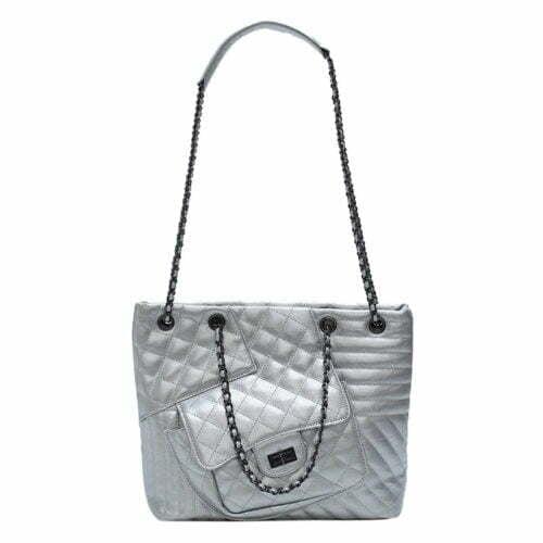 Big brand design embroidery women dkny silver bag