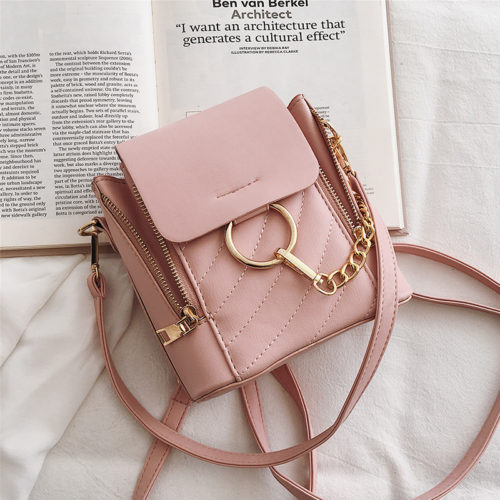 UN19067 pink 500x500 - 2019 trend design PU leather discount backpacks