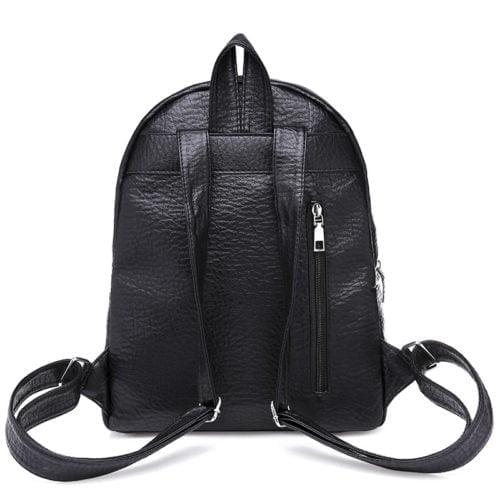 Free sample black fake leather adult women backpacks