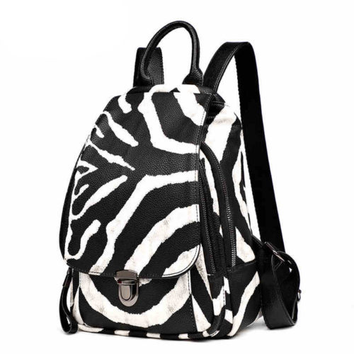 UN19071 500x500 - Factory style cheap price zebra PU leather school backpacks