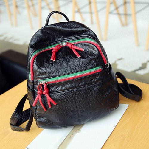 Popular design black PU leather ladies wash bags