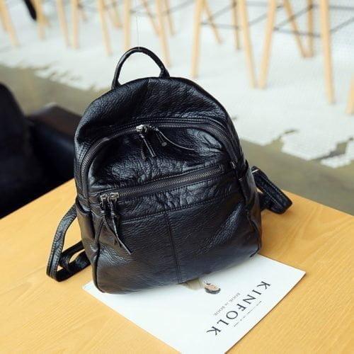 UN19086 black 500x500 - Popular design black PU leather ladies wash bags