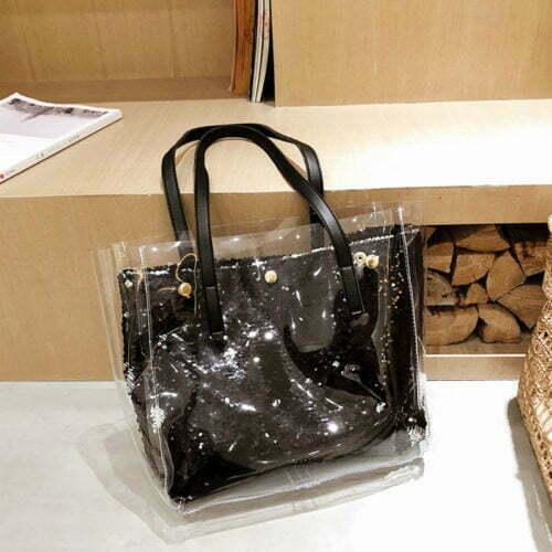 UN19095 500x500 - Best design shiny sequin PVC leather black tote bag